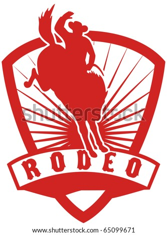 """retro style illustration of an American  Rodeo Cowboy riding  a bucking bronco horse jumping with sunburst in  shield background and scroll with words """"rodeo"""""""