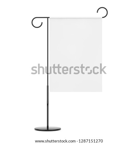 Retro Style Iron White Blank Banner Stand Signboard on a white background. 3d Rendering  #1287151270