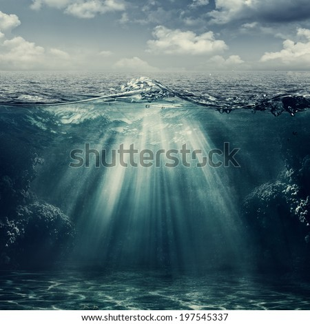 Retro style marine landscape with underwater view #197545337