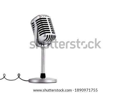 Retro style microphone isolated on white background ストックフォト ©