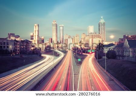 Retro style photo of Atlanta skyline, Georgia, USA