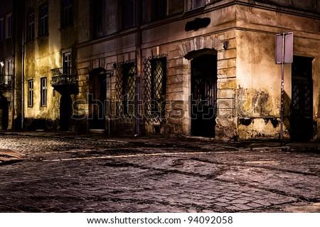 Retro style photo of Prague old town street