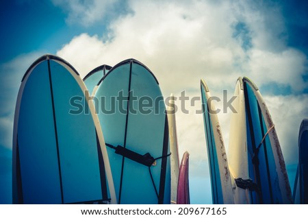 Retro Style Photo Of Vintage Hawaiian Surf Boards