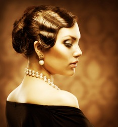 Retro Style Portrait. Romantic Beauty. Vintage. Jewelry