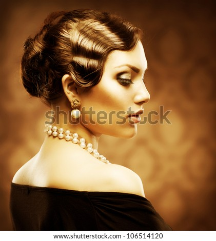 Retro Style Portrait. Romantic Beauty. Vintage. Jewelry