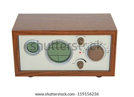 Retro style radio isolated on white background