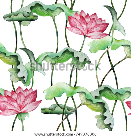 Retro style seamless pattern with pink lotuses. Watercolor painting of water lily with leaves. Hand drawn floral elements for repeatable vintage japanese background. Raster illustration.