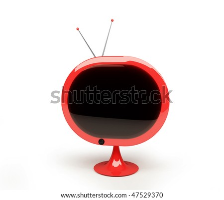 Retro style TV isolated on white space