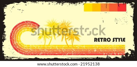Retro style wave with palms
