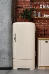 Retro style white fridge in vintage kitchen