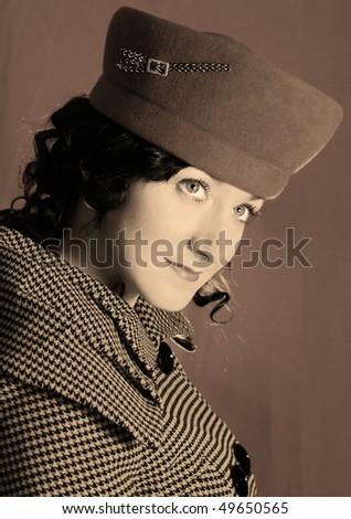Retro-style woman in sepia