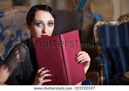 Retro style woman with menu book