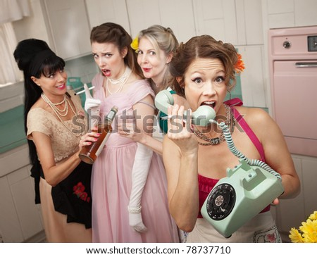 Retro-style woman yelling on phone while her friends drink and smoke