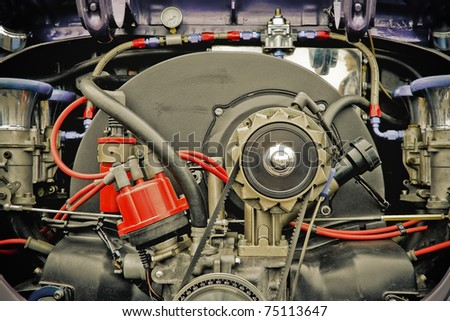 retro styled air-cooled vehicle engine from the 1960 era