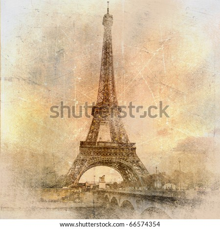 retro styled background - Eiffel tower