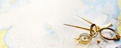 Retro styled golden compass (sundial), antique vintage W HC 6