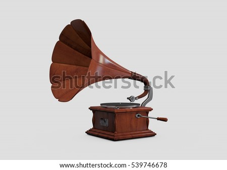 Retro styled gramophone isolated on a gray background. 3D rendering #539746678