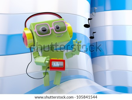 Retro-styled green android with tape recorder in headphones on colorful background/Robotic music lover