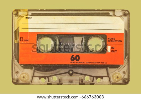 Retro styled image of an old audio compact cassette #666763003