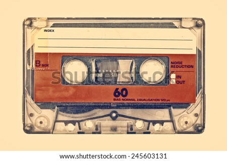 Retro styled image of an old compact cassette with empty label Stock photo ©