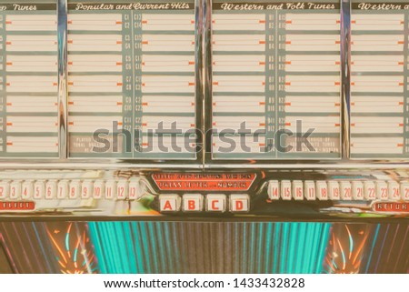 Retro styled image of an old jukebox with empty music labels #1433432828