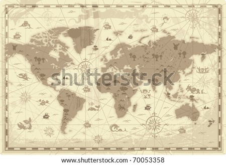 Retro-styled map of the World with mountains and fantasy monsters. Colored in sepia. Raster version. Vector version is also available. #70053358