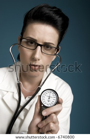 Retro styled medical professional showing high blood pressure results