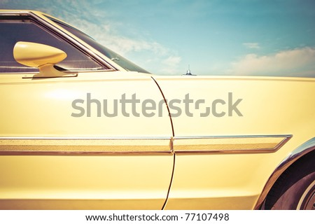 retro styled vehicle panel closeup from circa 1960 era