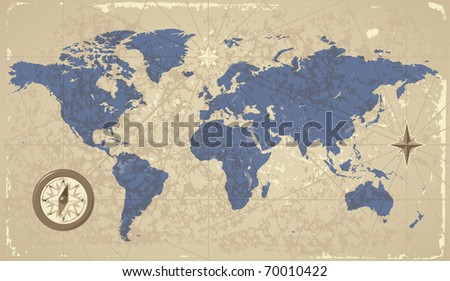 Retro-styled World map with compass and wind-rose. Raster version. Vector version is also available.