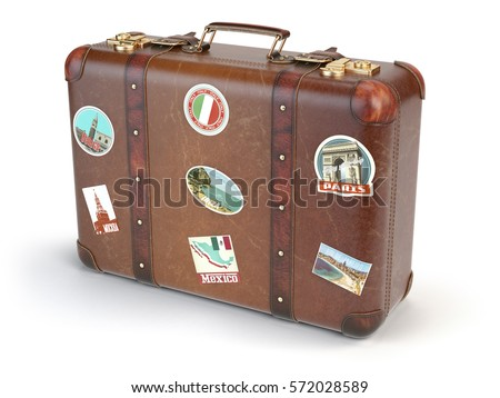 retro suitcase beggage with...