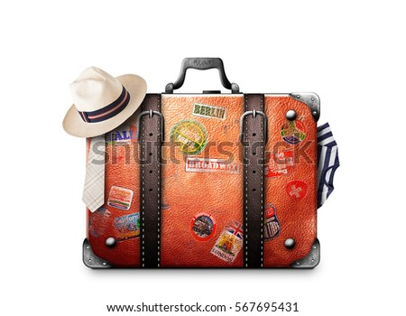 Retro suitcase of a traveler with travel stickers - Shutterstock ID 567695431