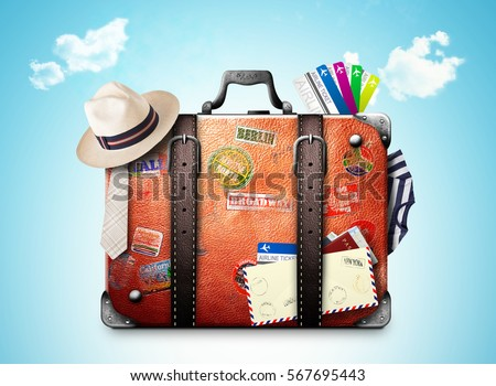 Retro suitcase of a traveler with travel stickers - Shutterstock ID 567695443