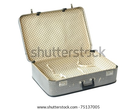Retro Suitcase opened isolated over white. With Clipping Path