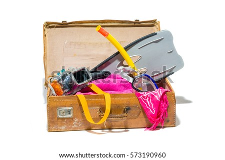 retro suitcase with beach...