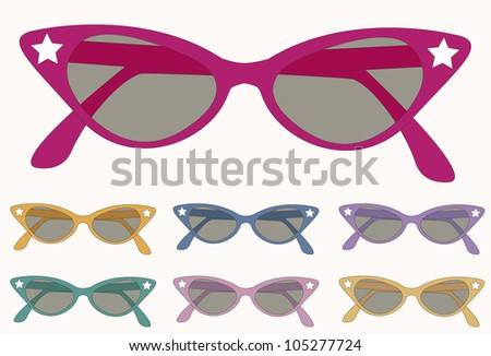 retro sunglasses of several colours; pink, blue, fuchsia, green, orange and yellow