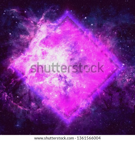 Retro Synthwave Neon Light with Cosmic Background. Cosmic texture