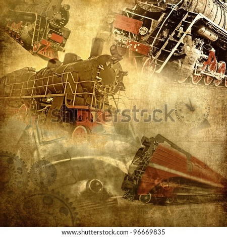 Retro technology, old trains grunge background