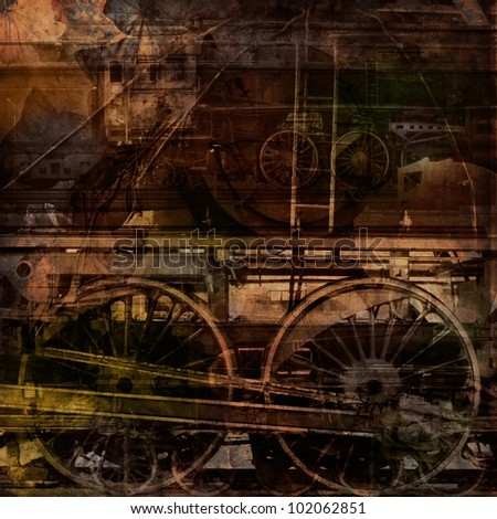 Retro technology, old trains, grunge background texture