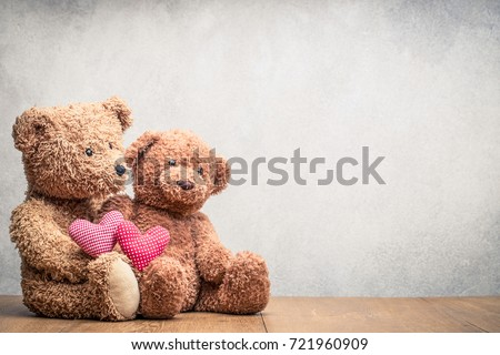 retro teddy bear toys pair with ...