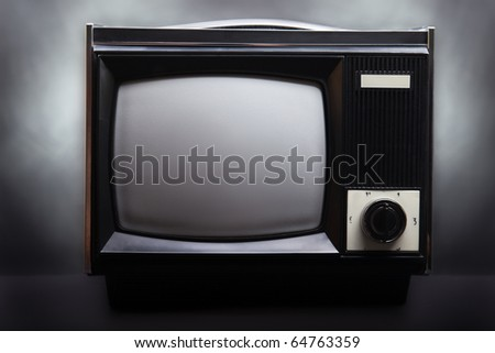 Retro television equipment blank display screen
