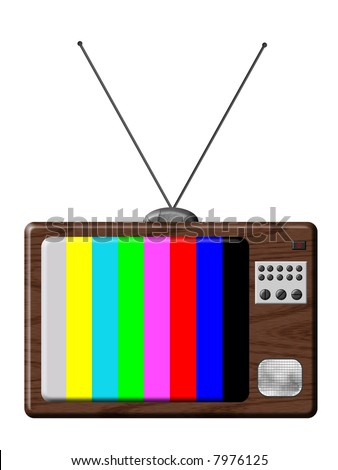 Retro television is a illustration of TV set isolated with tuning colours.