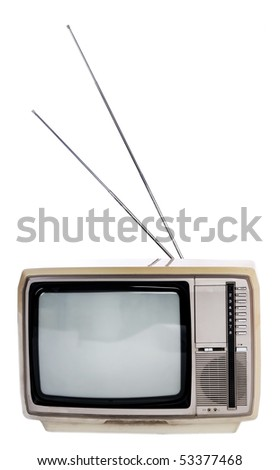 retro television isolated on white