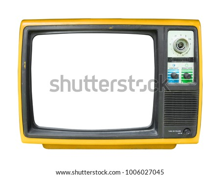 Retro television - old vintage TV with frame screen isolate on white with clipping path for object, retro technology #1006027045