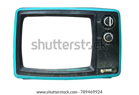 Retro television - old vintage TV with frame screen isolate on white with clipping path for object, retro technology #789469924
