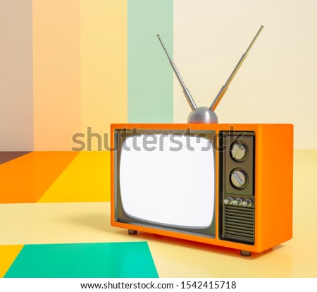 Retro television, Retro vintage tv 3d rendering, 3D illustration of Classic Design Retro TV with orange plastic shell and white blank for your text screen on retro background.