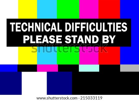 retro television test pattern with please stand by technical difficulties warning Foto d'archivio ©
