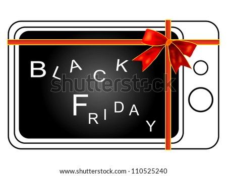 Retro Television Tied with A  Red Ribbon Isolated on white background, Sign for Start Black Friday Shopping Season.