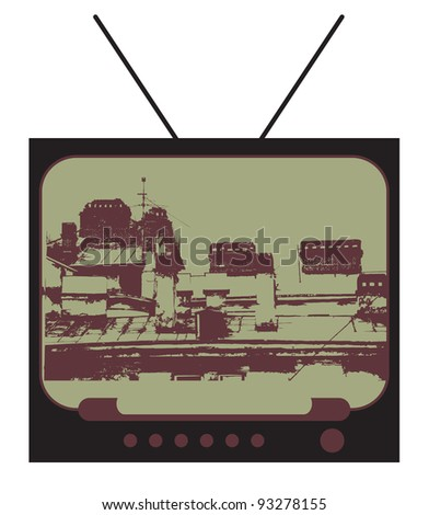 retro television with grungy screen and movie, city and buildings with roofs