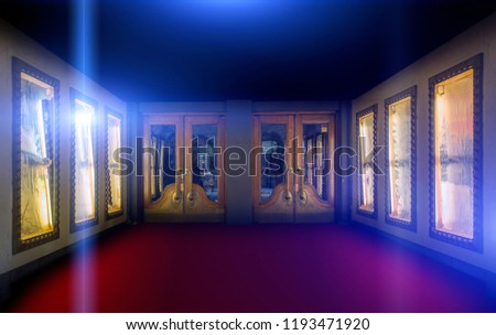 Retro theater entrance with spotlighs
