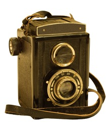 retro TLR (Twin-lens reflex) photo camera isolated on white